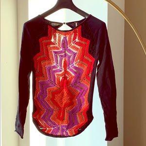 Free People Multi Colored Knit Sweatshirt